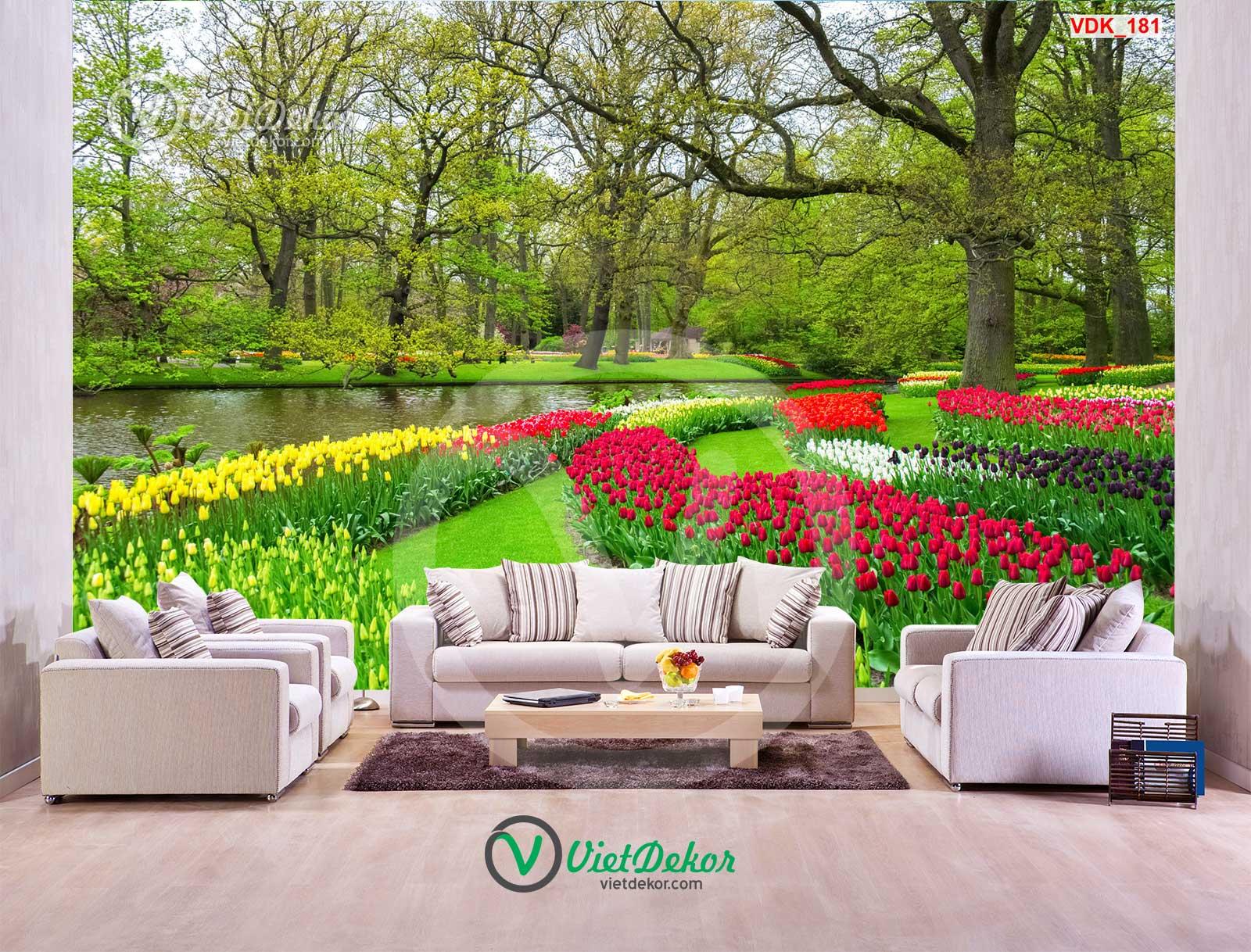 Tranh dán tường 3d rừng cây vườn hoa