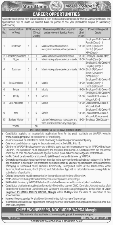 Advertisement for Water and Power Development Authority (WAPDA) Jobs 2019