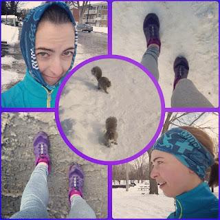 Montage de photos, coureuse, hiver, écureuil, souliers de course, neige, parc Ahuntsic