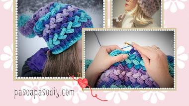 Gorro en Punto Puff Entrecruzado Crochet - diy
