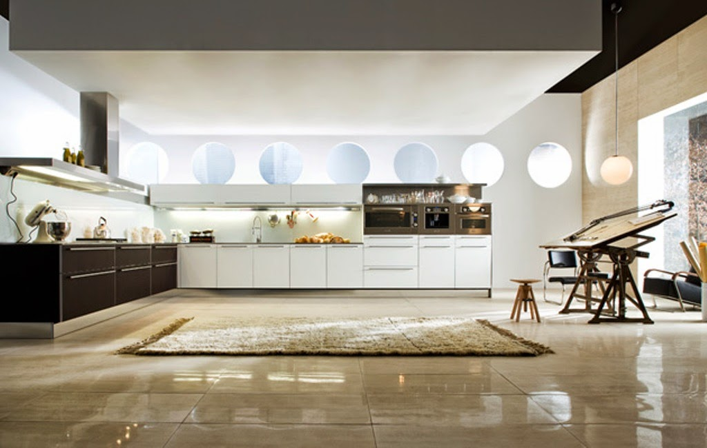 big and modern style kitchen design with rug