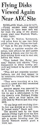 Flying Disks Viewed Again Near AEC Site - Dallas Morning News 7-13-1952