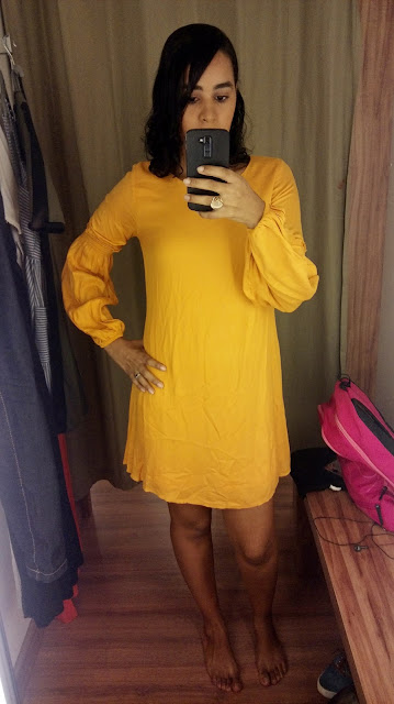 Achegue-se! GARIMPO RENNER - SHOPPING DA BAHIA - LIQUIDA SALVADOR vestido mostarda manga longa