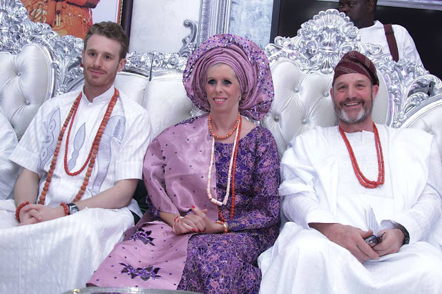white family wears aso ebi nigeria