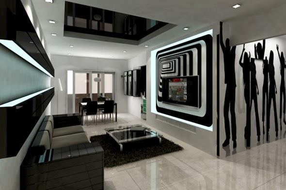 Desain Ruang Tamu Warna Hitam Putih