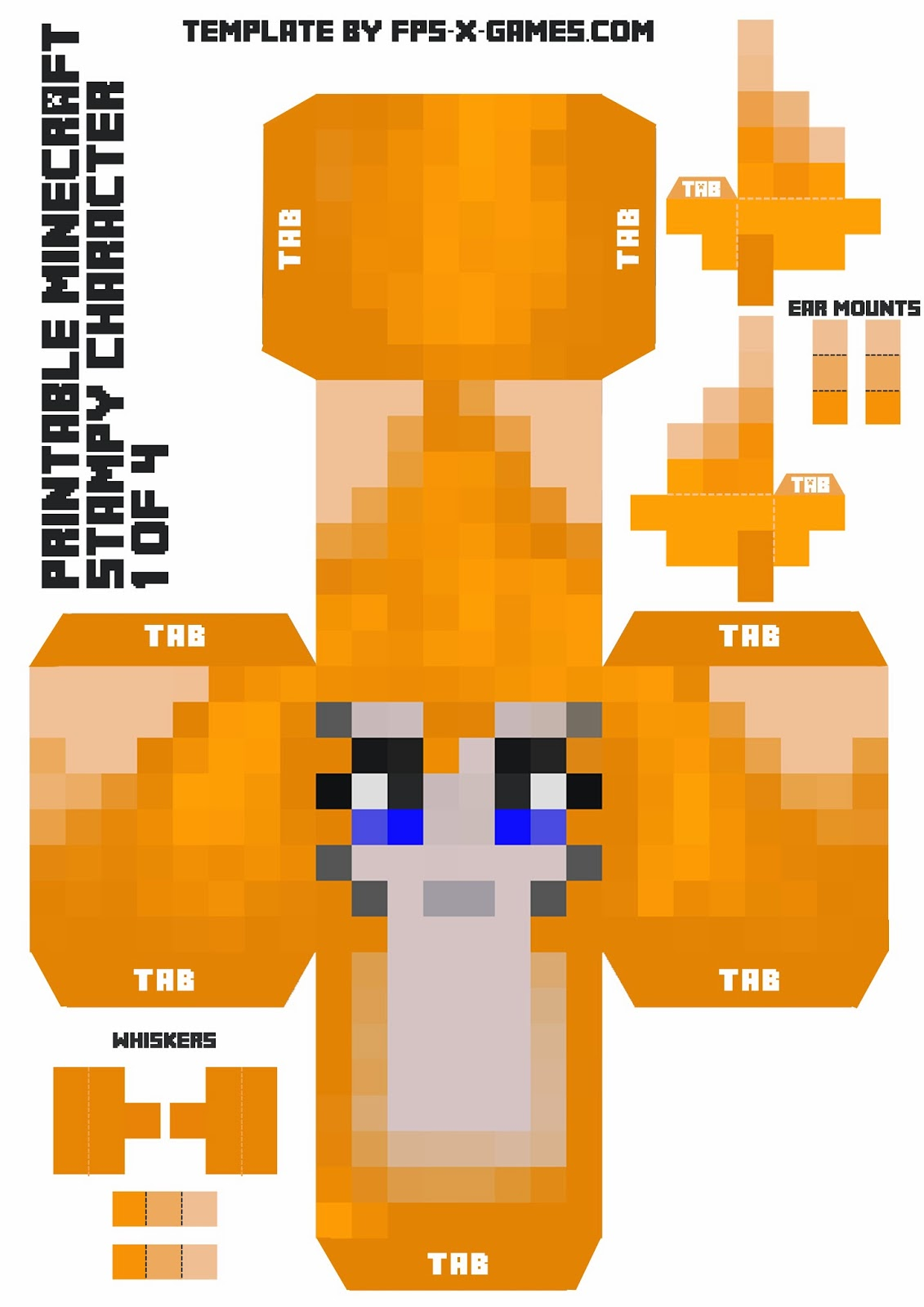 cut out character template - large minecraft printable stampy character 1 of 4