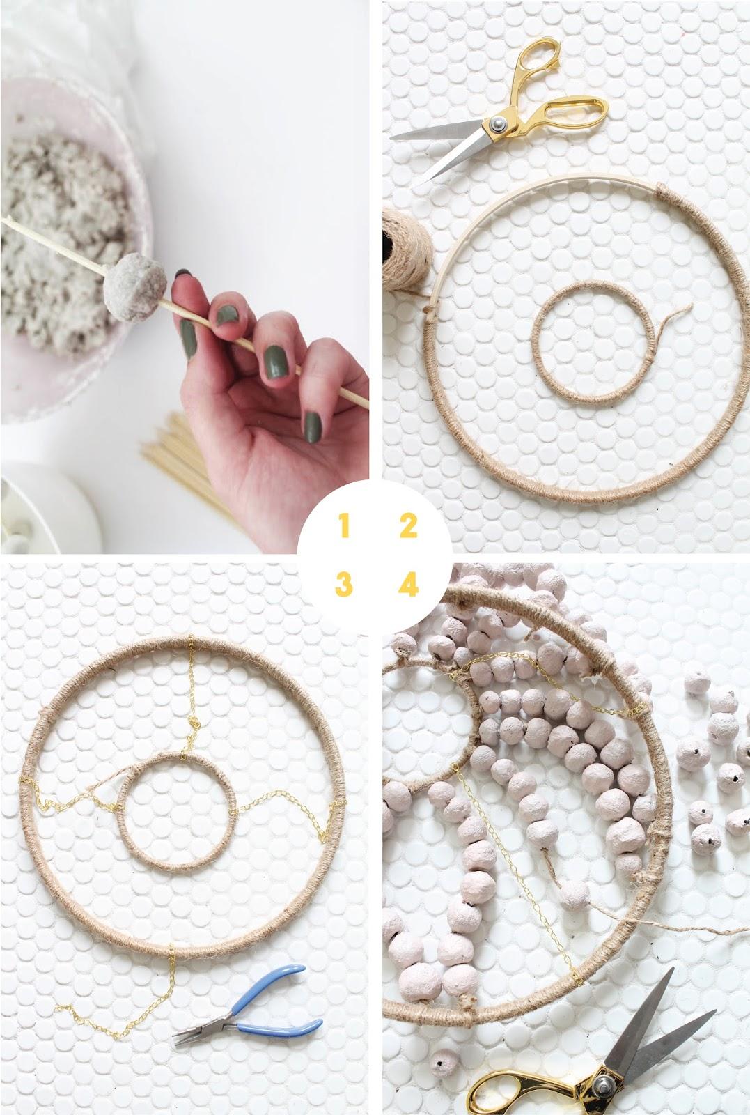 Make a papier mache beaded chandelier