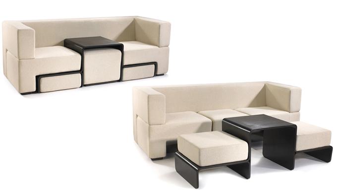 Diseño de sofá con mesa cafetera