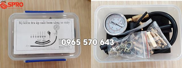 Đồng hồ đo áp suất bơm xăng xe máy FI, bộ kiểm tra áp suất bơm xăng xe máy