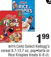 Select Kellogg's cereal 8.7-13.7 oz, pop•tarts or Rice Krispies treats 6-8 ct. - $1.99