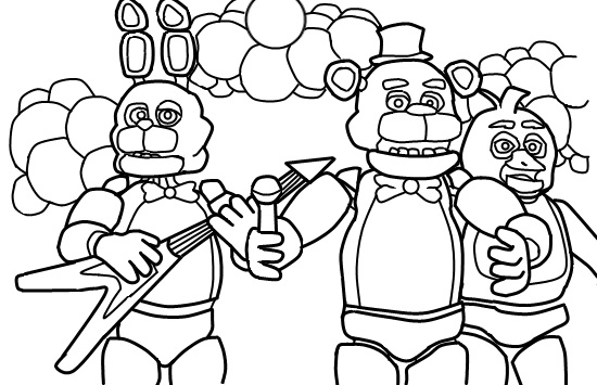 Fun learn free worksheets for kid five for Fnaf 2 coloring pages