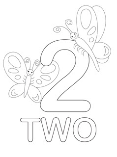 Two coloring pages in one ~ Free Coloring Pages Printable: Fun Number Two Coloring Pages