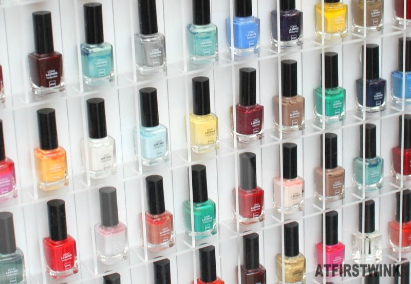 HEMA nail polish wall close up