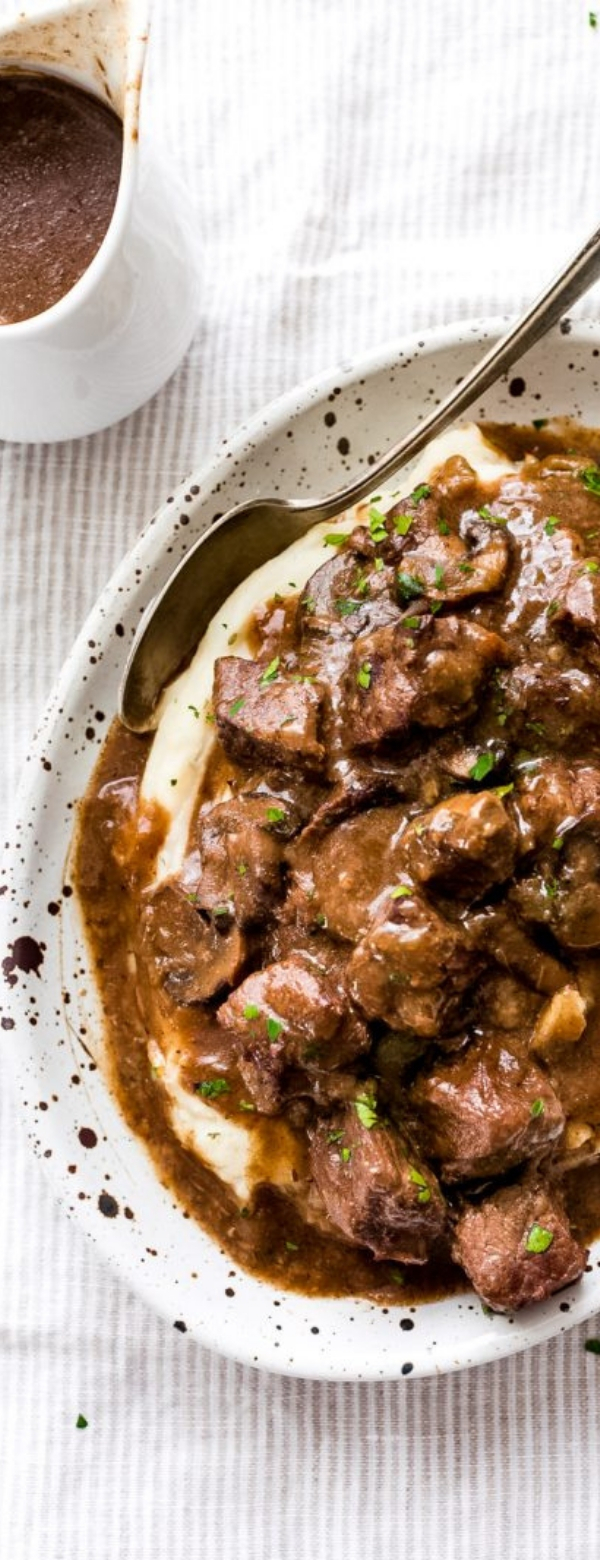 RIDICULOUSLY TENDER BEEF TIPS WITH MUSHROOM GRAVY #DINNER