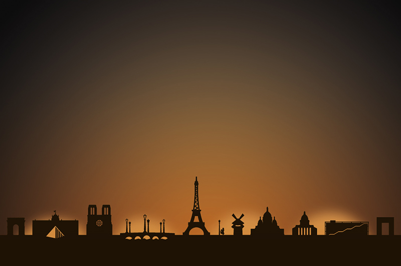 Paris city skyline candle holder