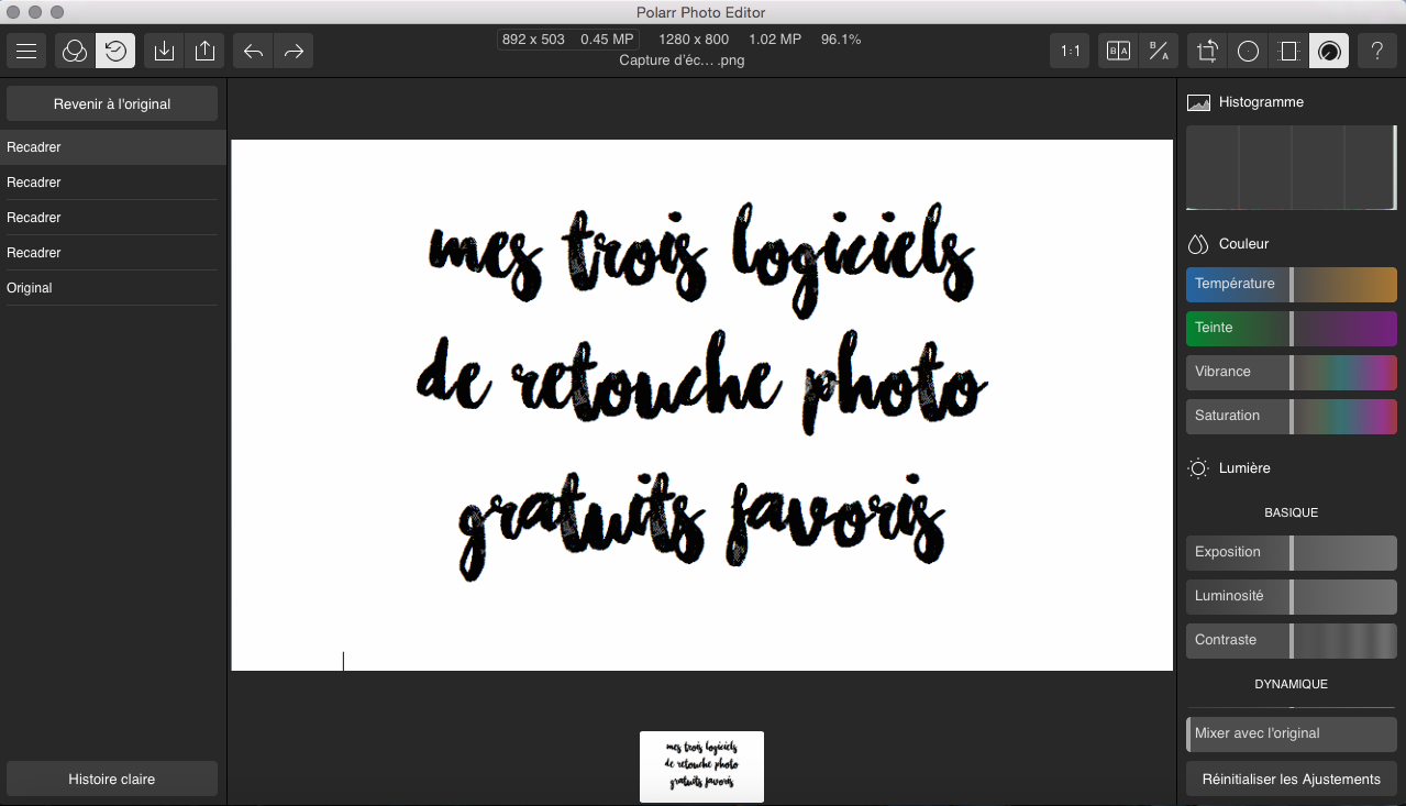 logiciels montage retouche photo gratuit indispensable Deuxaimes Polar photo editor lite