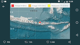 Peringatan Dini Tsunami di NTB, Gempa Mag:7.0, 05-Aug-18 18:46:35WIB