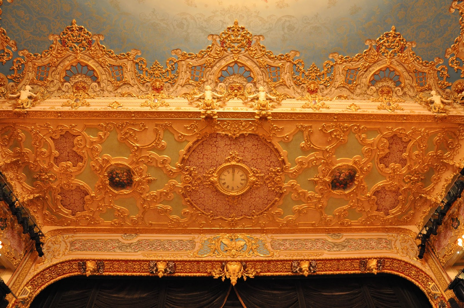 The clock above the stage, La Fenice, Venice, Italy