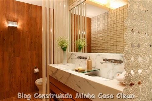 Construindo Minha Casa Clean 30 Dicas de Banheiros e Lavabos Decorados e Mod -> Banheiro Decorado Com Pvc