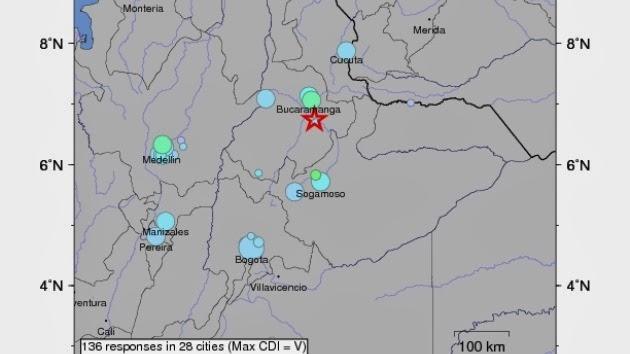 Epicentro sismo Colombia, 07 de Febrero 2014