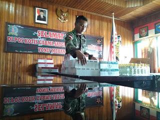Upaya Penyelundupan Ribuan Batang Rokok dan Miras, Berhasil Digagalkan Satgas Pamtas Yonif Mekanis 643/Wns
