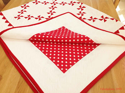 Completed - Red and White Pinwheel Patchwork Quilt