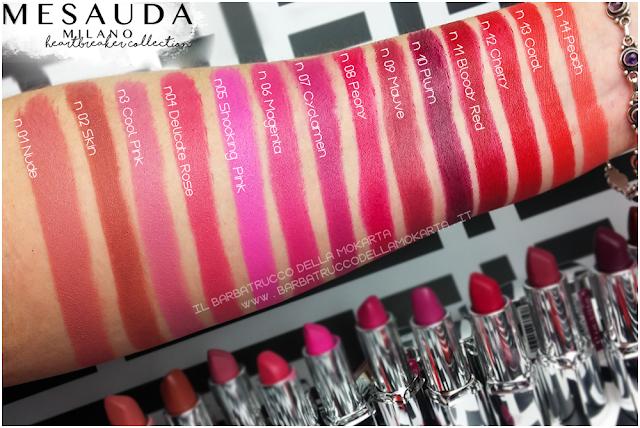 SWATCHES heartbreaker lipstick, rossetto matt , matt lipstick , mesauda
