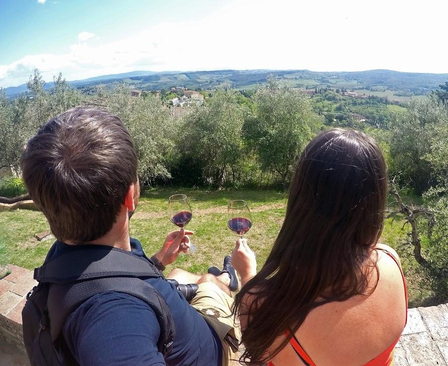 Couple drinking Chianti Wine in Tuscany
