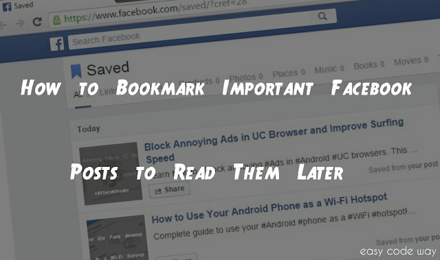 Bookmark Facebook Posts With New Save Feature