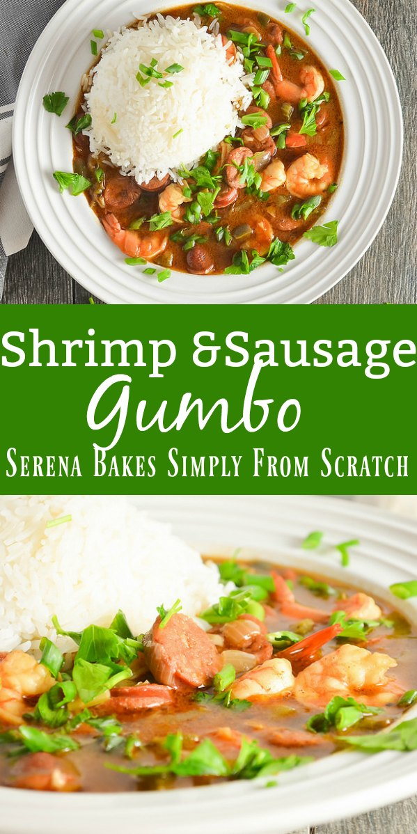 Shrimp and Sausage Gumbo is a favorite recipe for Mardi Gras parties! It's delicious with a rich dark roux from Serena Bakes Simply From Scratch.