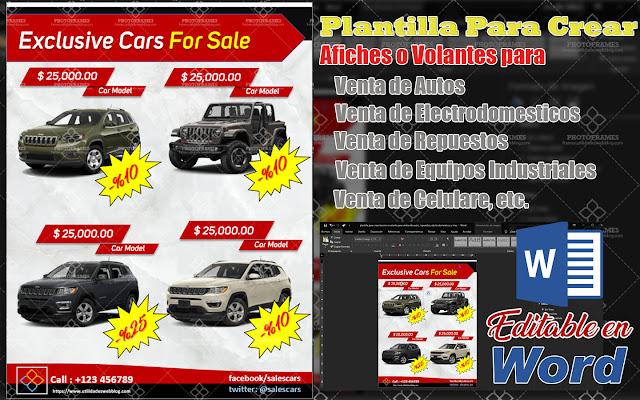 Plantilla Word para crear afiches para ventas de autos, electrodomésticos, repuestos, etc.