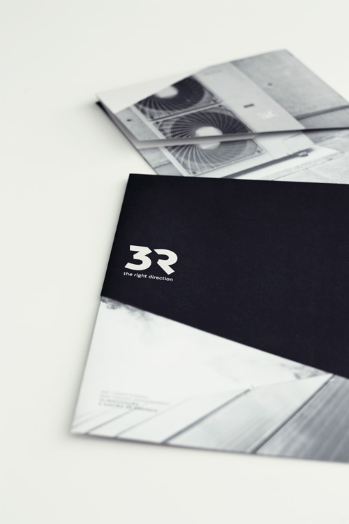 3R foldout brochure by Gen Design Studio renewable energy systems fold uncoated paper duotone