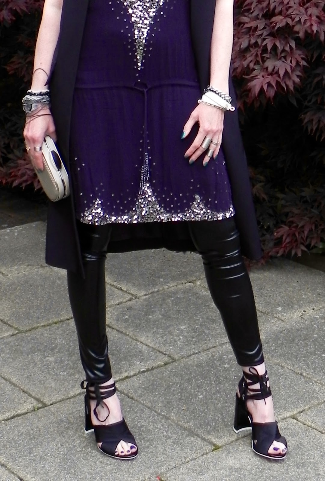 Antik batik tunic dress, Topshop unique shoes and vinyl leggings.