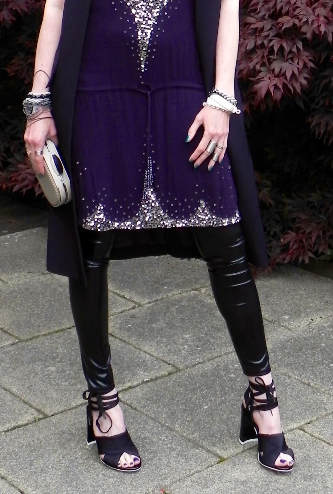 Antik batik tunic dress, Topshop unique shoes and vinyl leggings.