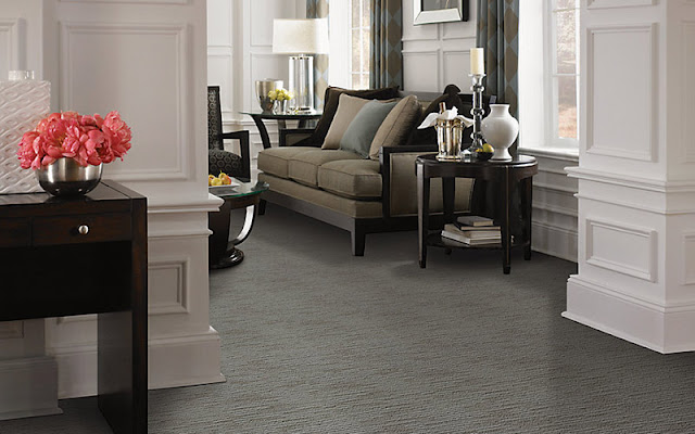 Subtle grey patterned carpet