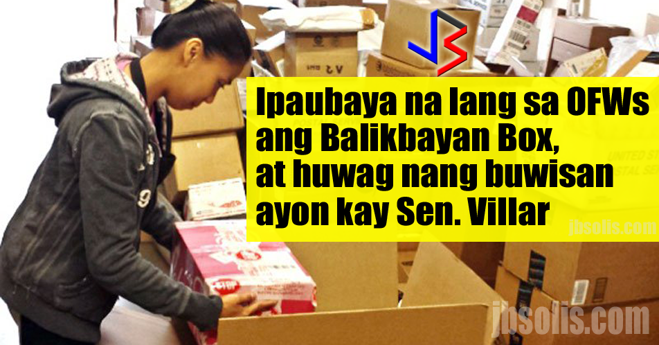 With the recent implementation of the Bureau of Customs regarding new rules on the sending of Balikbayan Boxes, the OFW Community found another figure to share their sentiments. Senator Cynthia Villar has declared her support in giving 100 Tax Free privilege to Balikbayan Boxes sent by OFWs.  While the current system do provide the privilege to OFWs, it has some conditions and limitations that drew the ire of OFWs around the world. Among the issues facing the migrant workers are the need to list every single item inside each box - adding the requirement to put a nominal value to each item. Also drawing flak, the need to provide receipt for more expensive items. Others argue, the cap of P150,000 for a year's worth of Balikbayan Boxes is also too little, especially for OFWs who are going for final exit.  Senator Villar recently questioned government officials regarding the tax program and tax reform agenda of the Finance Department. Here, she reiterated the fact that OFWs are modern day heroes because of the massive amount of remittance they send monthly, which helps the Philippine economy to remain afloat.  The senator believes that the new BOC rules on Balikbayan Boxes are unclear and confusing. She further said the BOC can tax a lot of other things, as well as focus on other issues within the bureau, like smuggling and drugs coming in - with money going to the pockets of customs officials.  Senator Villar believes that OFWs should have the privilege of tax free balikbayan boxes with no conditions since these are just one of a very few things that gives them joy, and acts as a therapy to home sickness - seeing their loved ones happy upon receiving their Balikbayan Boxes.  source: 8TriMedia