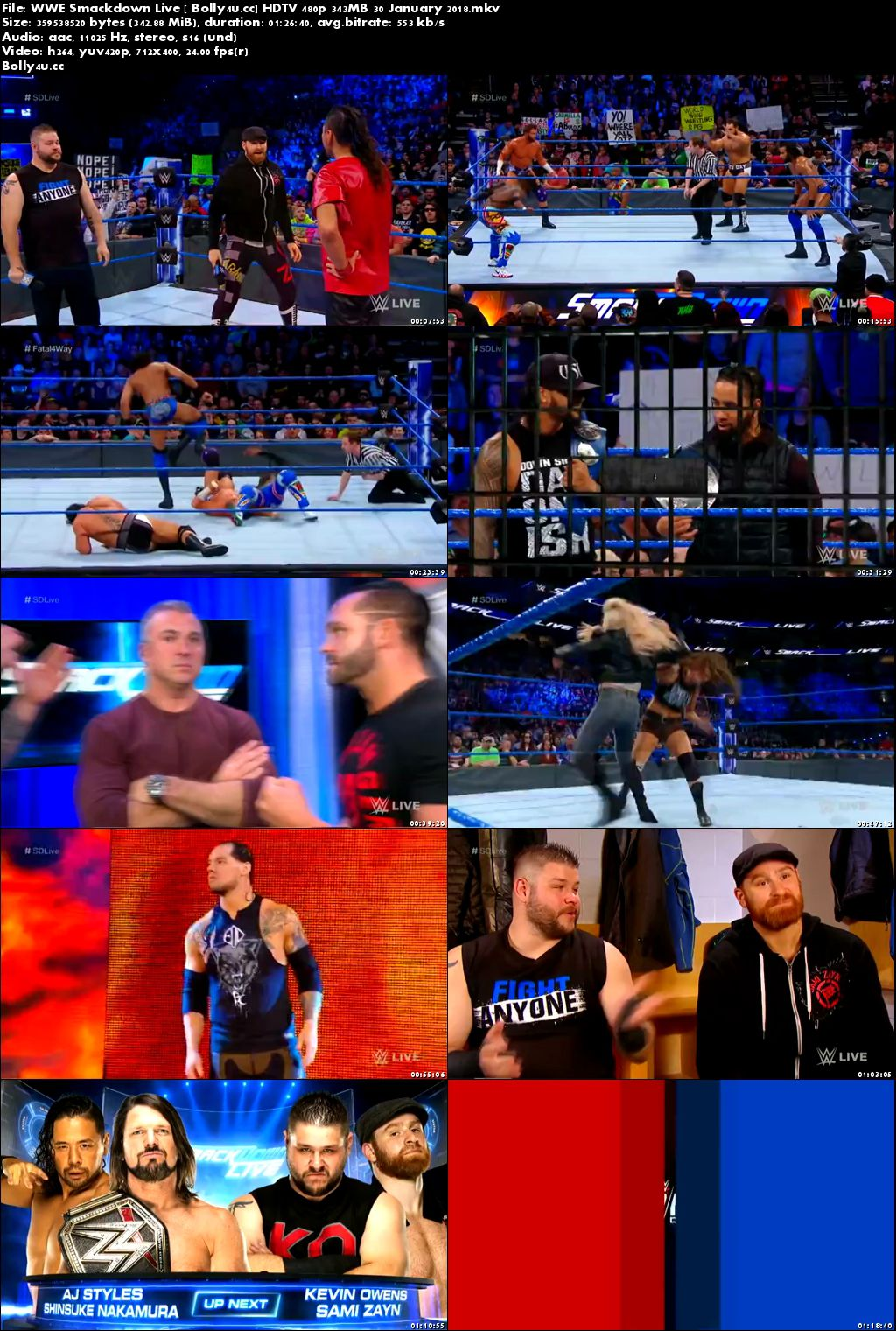 WWE Smackdown Live HDTV 480p 350MB 30 January 2018
