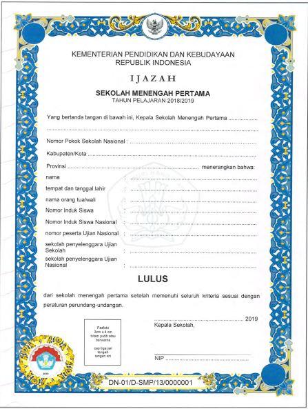 Blangko Ijazah SMP Tahun Pelajaran 2018/2019, http://www.librarypendidikan.com/