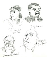 Virginia Woolf, Salman Rushdie, Gottfried Benn, Georg Trakl, sketch, portrait