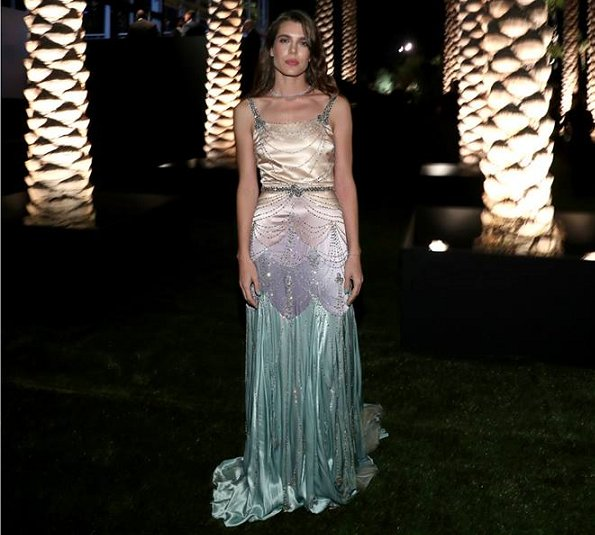 Charlotte Casiraghi of Monaco wore Gucci SS2018 evening dress. Mark Bradford and film maker George Lucas