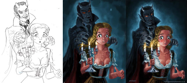 manga monster vampire with woman painting WIP Davey