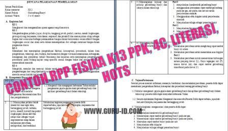 GAMBAR RPP K13 FISIKA REVISI  PPK, Literasi, 4C, dan HOTS