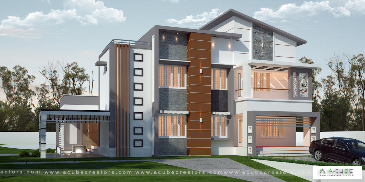 Thrissur Kodungallur Luxury Villa architectural design idea 3345 sq ft 4 Bedroom