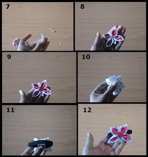 Gambar tutorial ikat rambut kanzashi kupu-kupu part 2