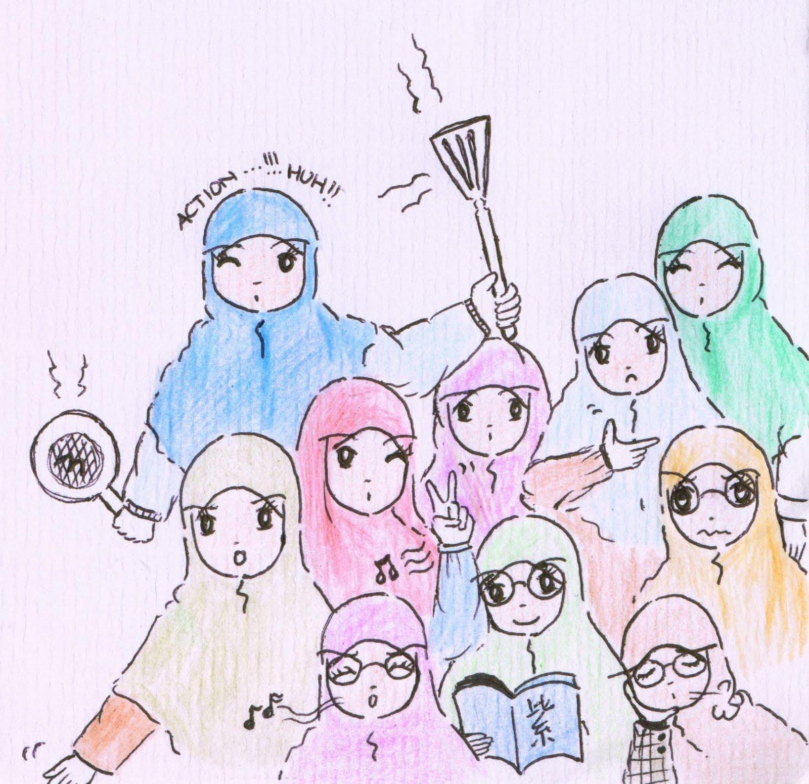 Gambar Kartun Muslimah Tentang Persahabatan Kolek Gambar