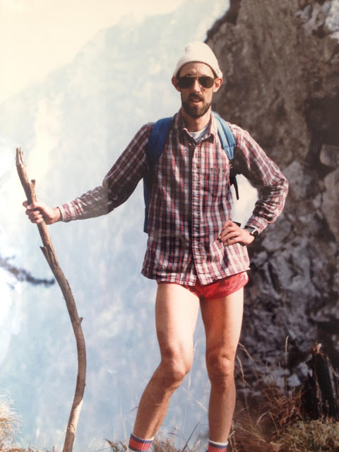 1970s Dads - the original hipsters. Dad hiking in running shorts and plaid button up shirt. The New Dad. marchmatron.com