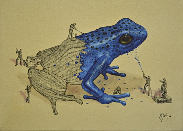 04-Blueberry-Frog-Ricardo-Solis-Surreal-Illustrations-of-Animals-in-Mid-Construction-www-designstack-co