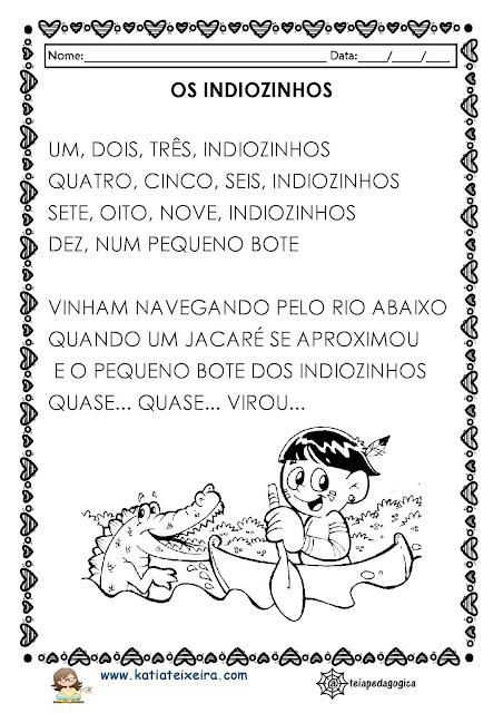 ATIVIDADES%2BINDIOZINHOS-page-001 Atividades de Matemática e Português 1º ano Texto Os indiozinhos