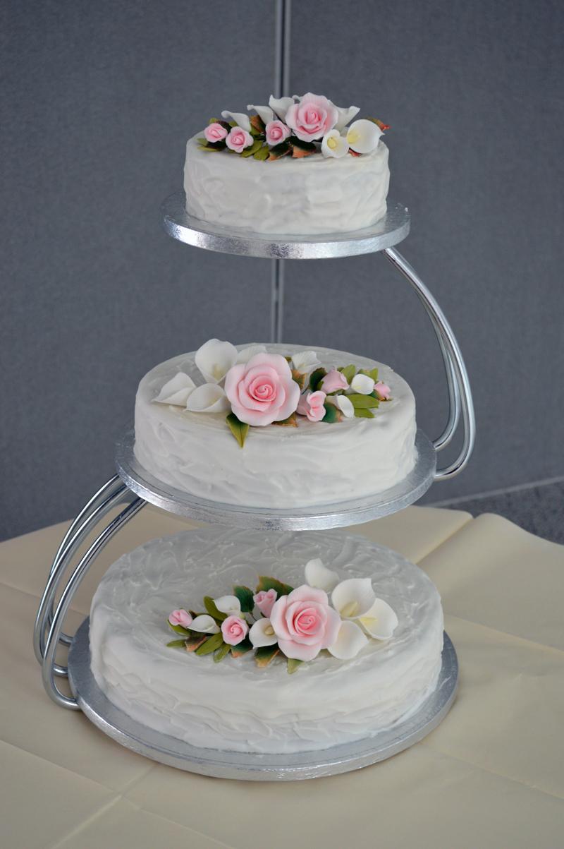 Three Separate Tier Wedding Cake