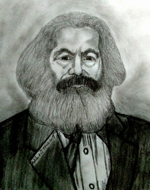 PENCIL DRAWING -  KARL MARX